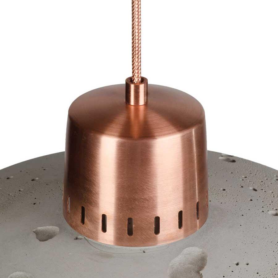 lampa z betonu wykończenie miedź