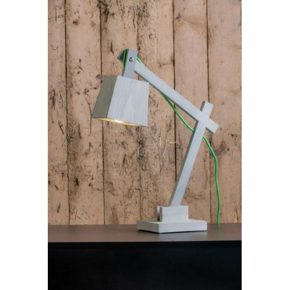 drewniana lampa na biurko