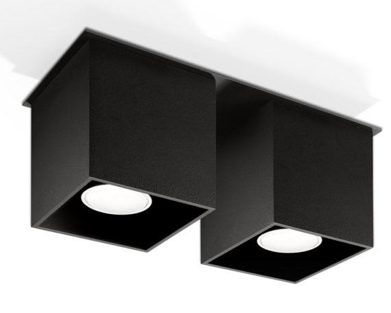 kwadratowy plafon downlight czarny 03