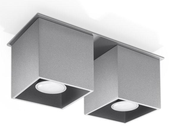 kwadratowy plafon downlight szary