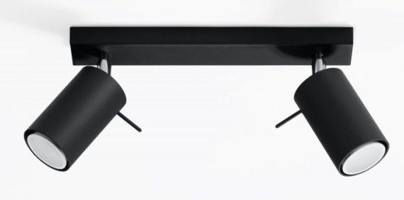 nowoczesny czarny plafon spot