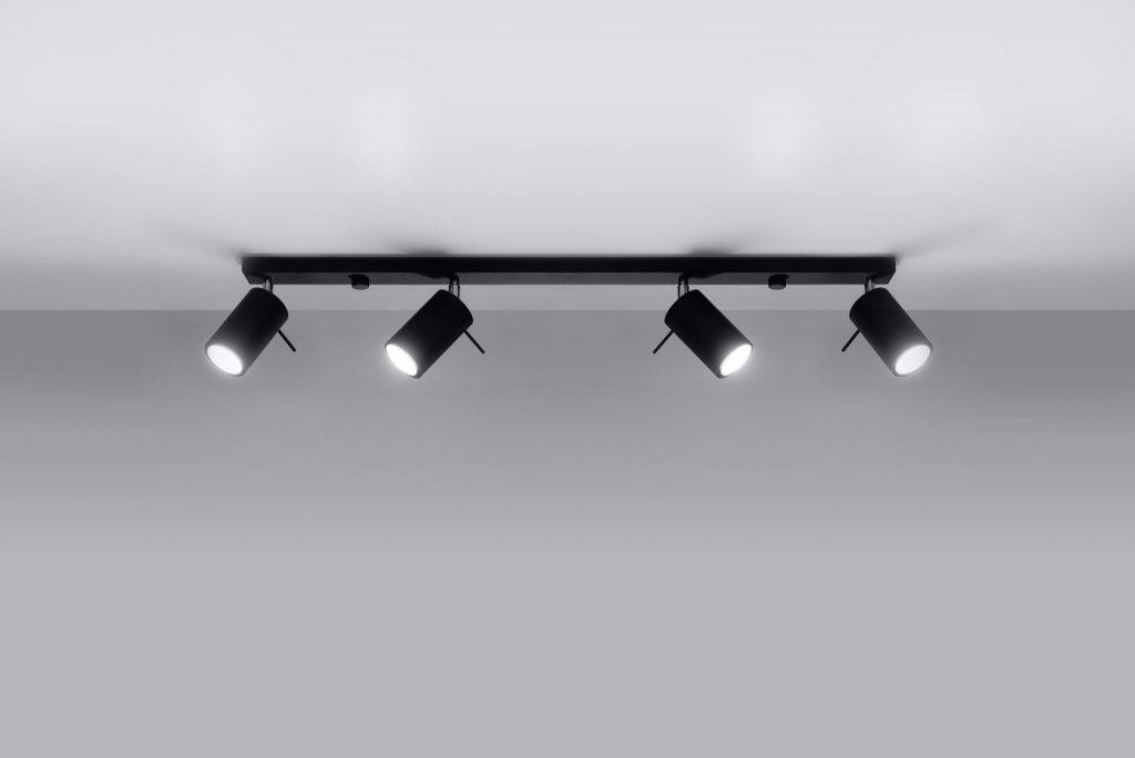 Lampa Sufitowa Listwa Spot Ring 4l Czarna