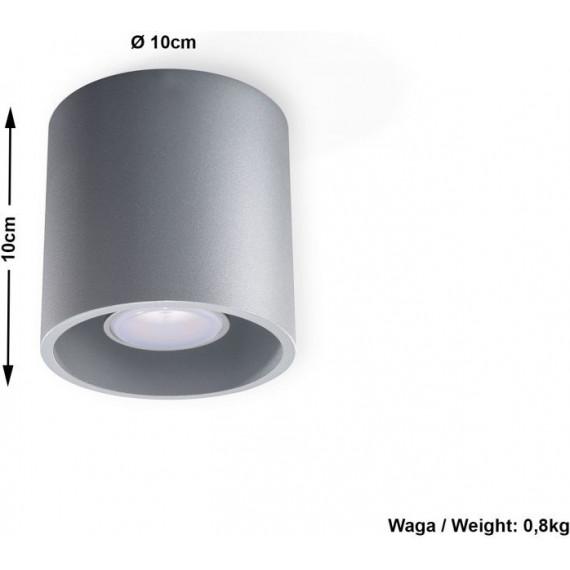 okrągły plafon sufitowy metalowy szary
