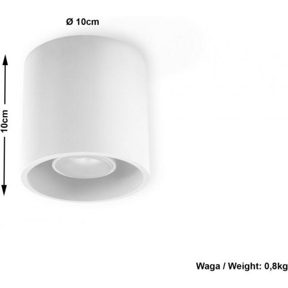 biały plafon metalowy okrągły