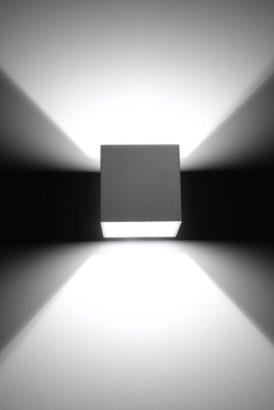 aluminiowy szary kinkiet ścienny kostka cube