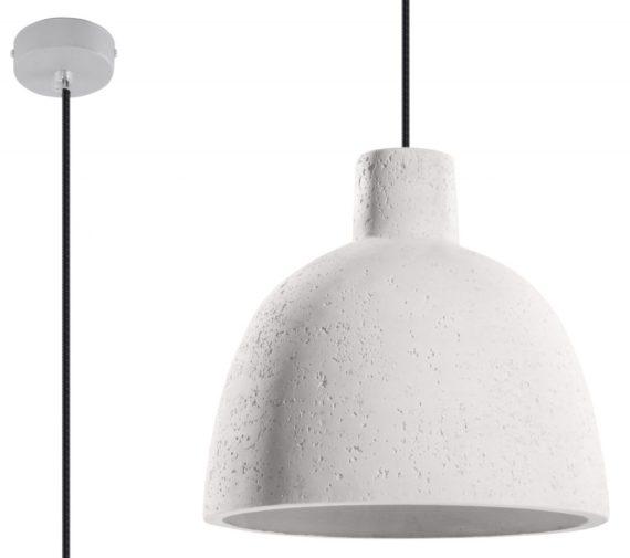 lampa z betonu kolor biały
