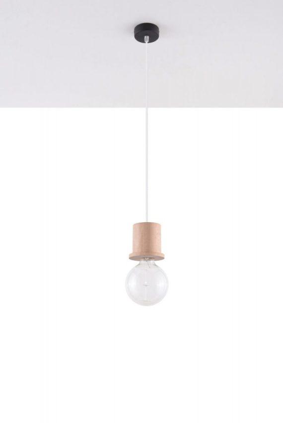 nowoczesna lampa pojedyńcza drewniana 02