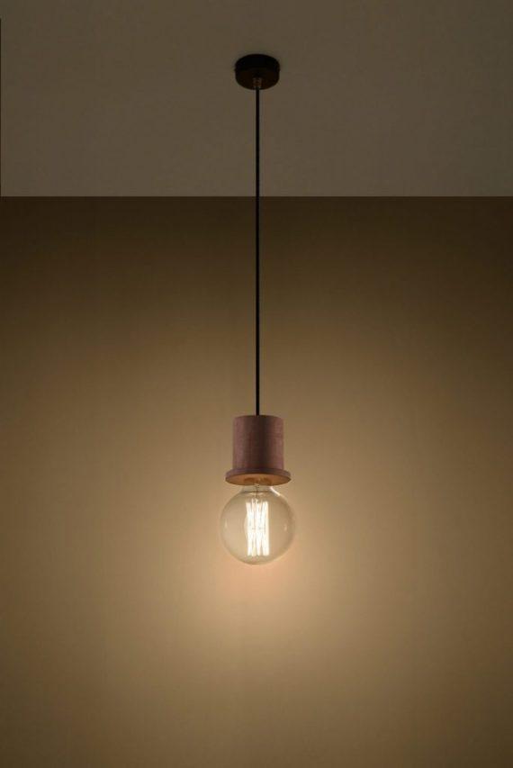 nowoczesna lampa pojedyńcza drewniana 03