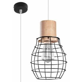 drewniana lampa pojedyńcza zwis