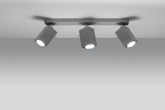 Lampa Sufitowa Spot Regulowany Plafon MERIDA 3 Szary