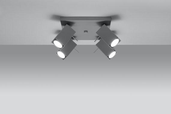 Designerski plafon 4 punktowy Merida 4 kolor szary 01