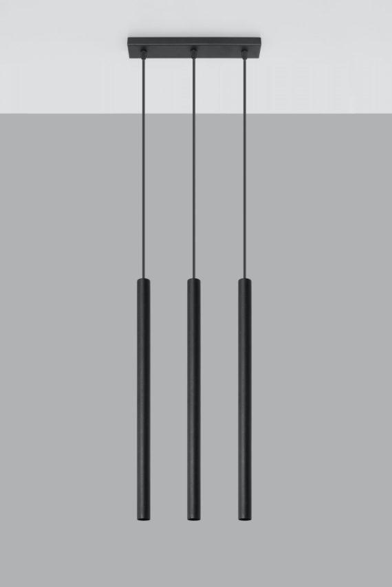 Designerska lampa wisząca Pastelo 3 punktowa 02 czarny