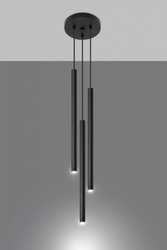 Pastelo 3 P lampa wisząca czarna tuba