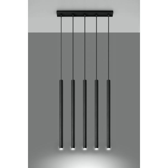 Lampa wisząca 5 punktowa Pastelo 5 rurki walce kolor czarny