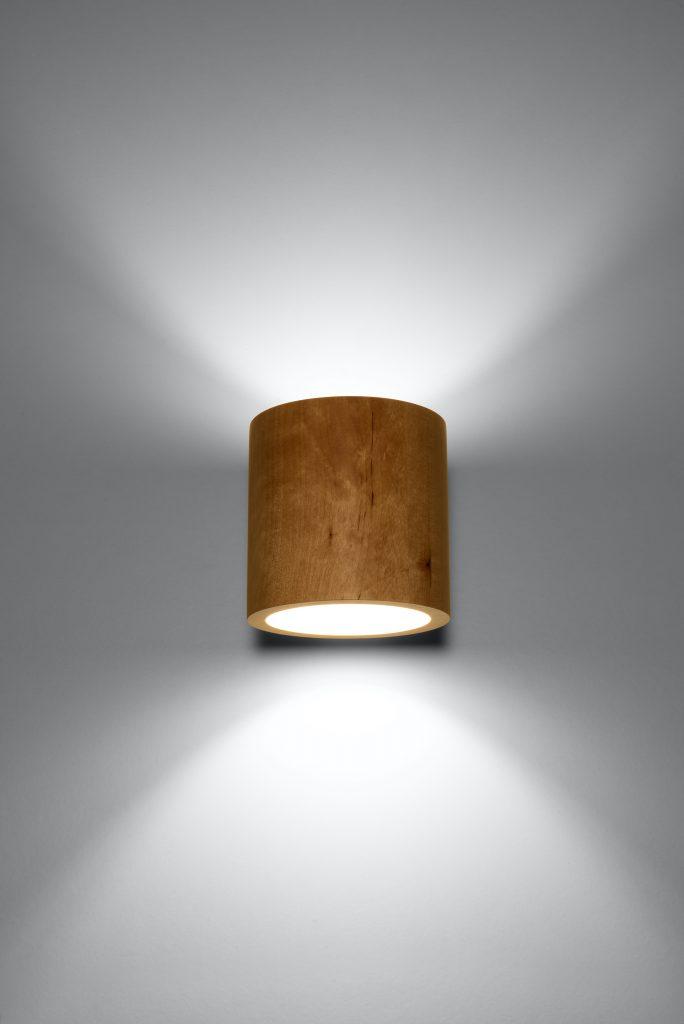 Lampa ścienna walec Orbis naturalne drewno 01