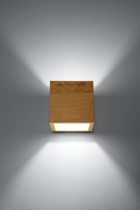 drewniany kinkiet kwadrat kostka