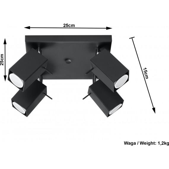 Designerski plafon 4 punktowy Merida 4 kolor czarny 02