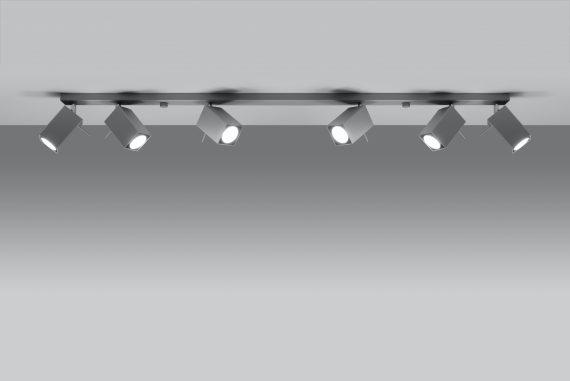 Lampa Sufitowa Spot Regulowany Plafon MERIDA 6L Szary