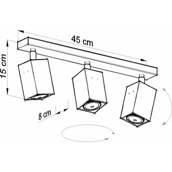 Lampa Sufitowa Spot Regulowany Plafon MERIDA 3 Czarny 03