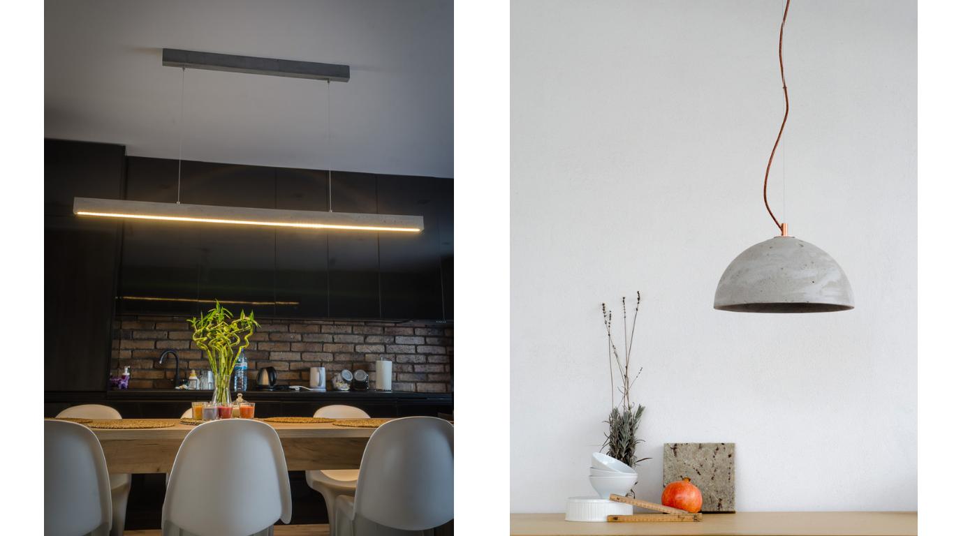 Długa lampa nad stołem w jadalni