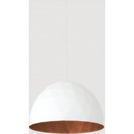 Lampa w stylu skandynawskim do salonu Leonard L biało miedziana