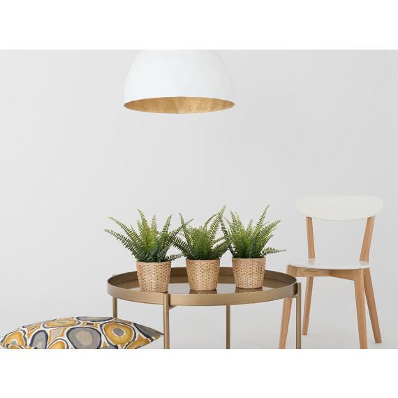 Elegancka lampa wisząca Leonard L złoto-biała 01