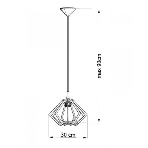 Drewniana lampa wisząca Pompelmo 02