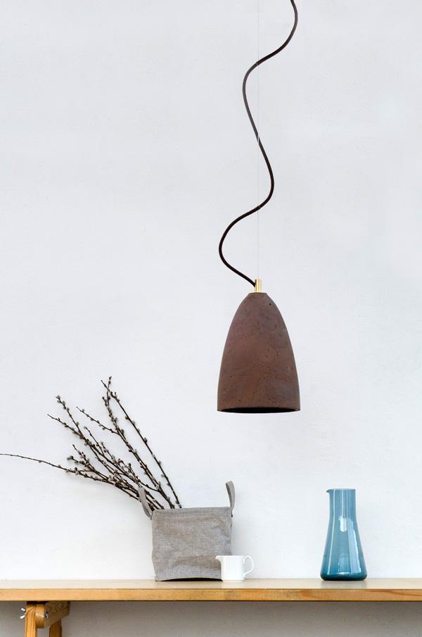 Nowoczesna betonowa lampa wisząca Febe M kolor Chocolate