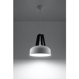 Nowoczesne lampy wiszące seria Casco biała/czarne drewno