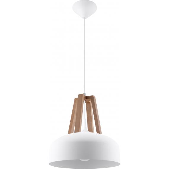 Lampa nad stół do jadalni Casco biała/naturalne drewno