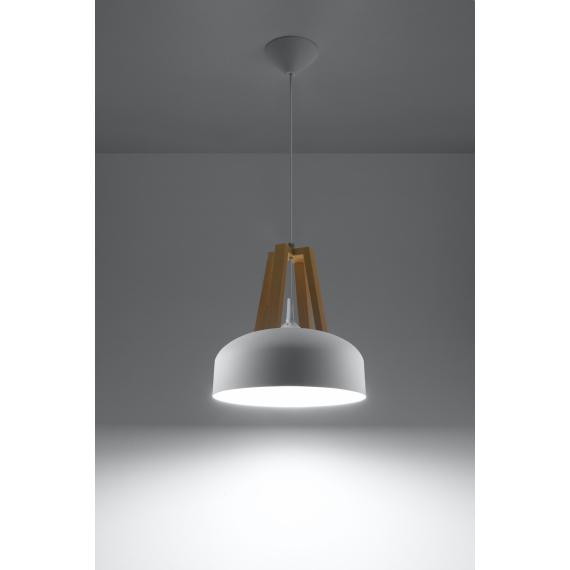 Lampa nad stół do jadalni Casco biała/naturalne drewno 01