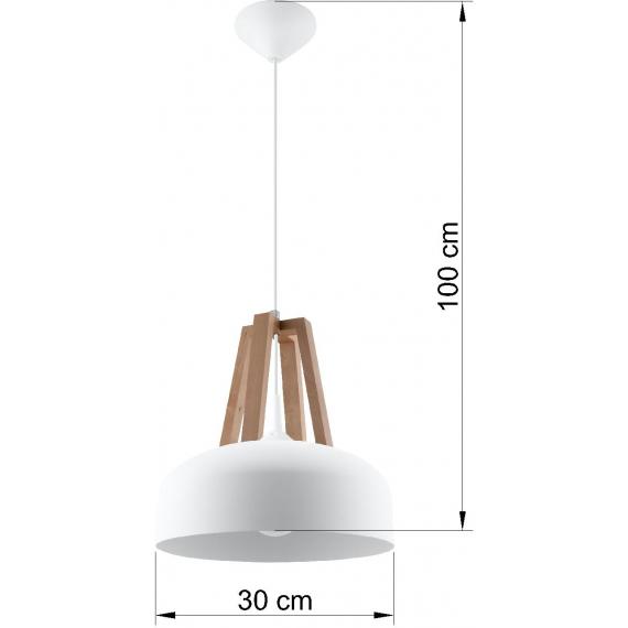 Lampa nad stół do jadalni Casco biała/naturalne drewno 02
