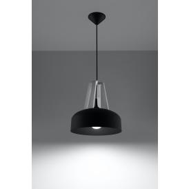 Lampa do salonu Casco czarna/białe drewno