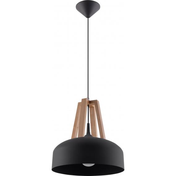 Lampa do salonu Casco czarna/naturalne drewno 01