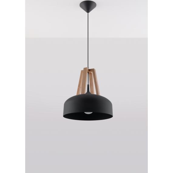 Lampa do salonu Casco czarna/naturalne drewno 02