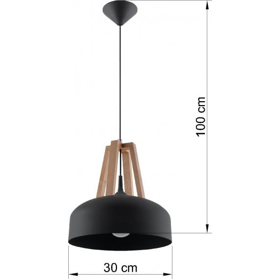 Lampa do salonu Casco czarna/naturalne drewno