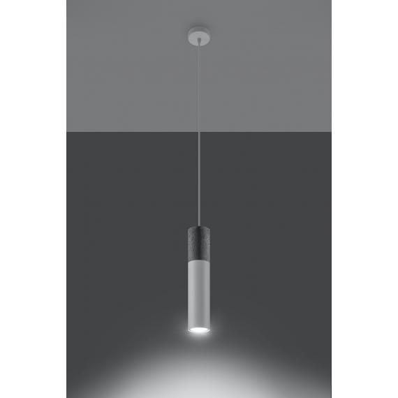Lampa wisząca do salonu Borgio 1 kolor biały i beton