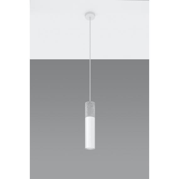 Lampa wisząca do salonu Borgio 1 kolor biały i beton 01