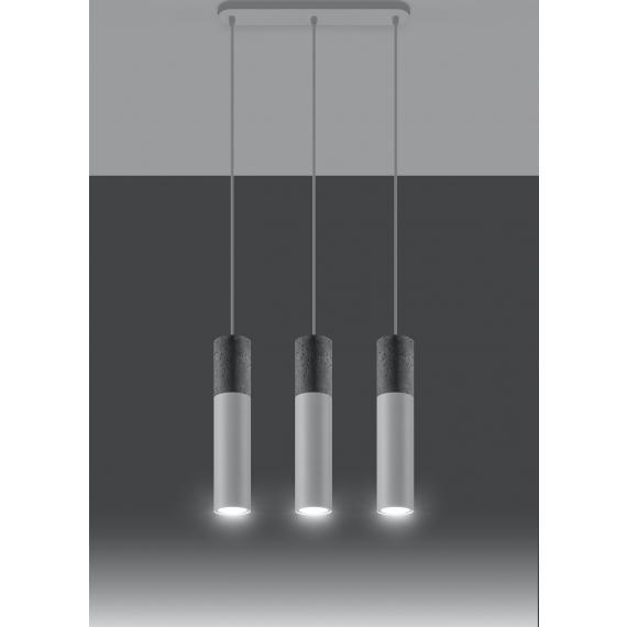 Nowoczesna lampa wisząca Borgio 3 biały beton 02