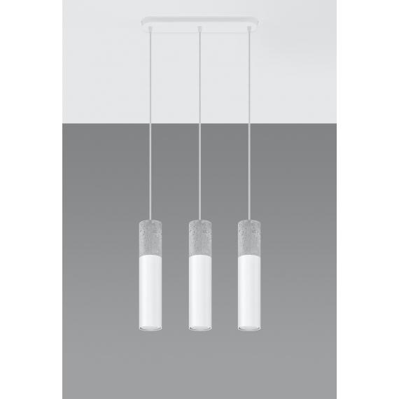 Nowoczesna lampa wisząca Borgio 3 biały beton 03