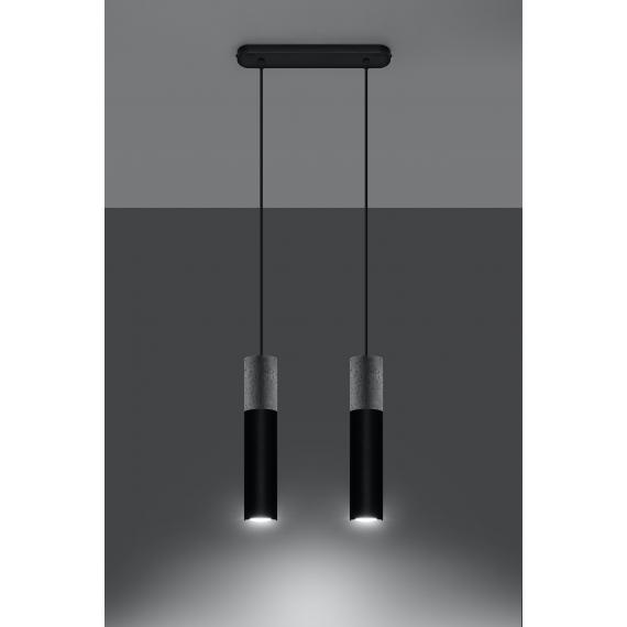 Lampa wisząca do sypialni Borgio 2 czarny beton 02