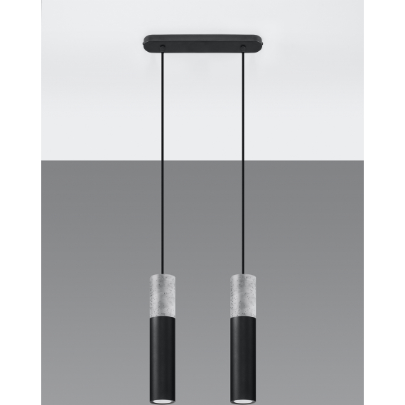 Lampa wisząca do sypialni Borgio 2 czarny beton 03