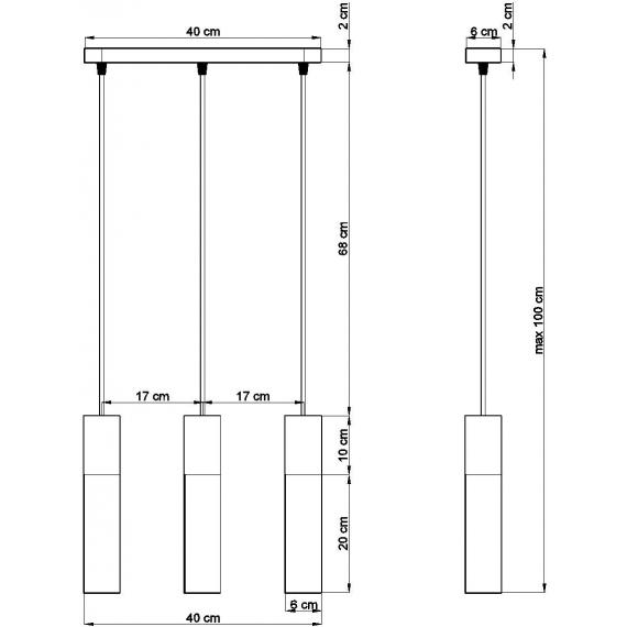 Lampa wisząca do jadalni Borgio 3 czarny beton 01