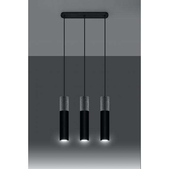 Lampa wisząca do jadalni Borgio 3 czarny beton 02