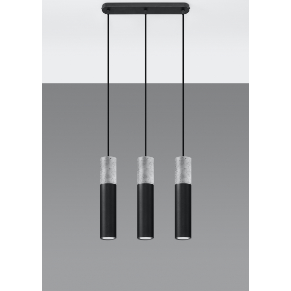 Lampa wisząca do jadalni Borgio 3 czarny beton 03