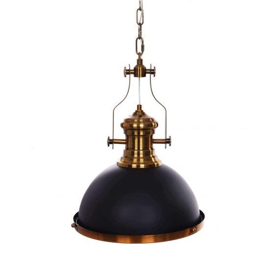 Lampa wisząca industrialna ETTORE czarno-mosiężna Oświetlenie