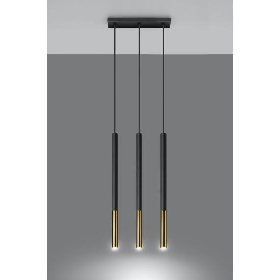 Lampa wisząca MOZAICA 3L czarny/złoto Oświetlenie