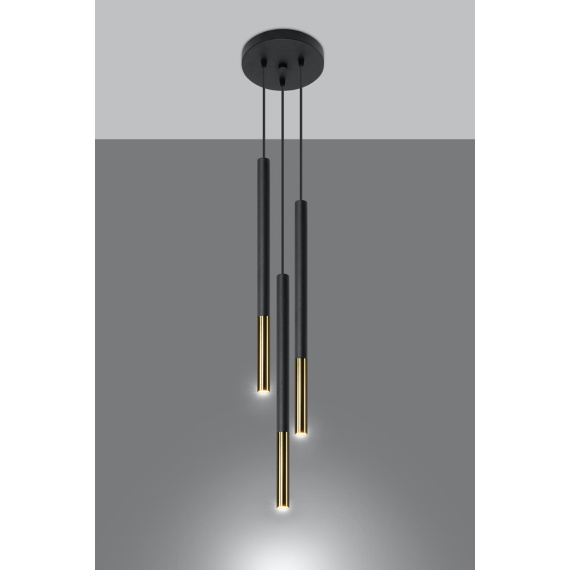 Lampa wisząca MOZAICA 3P czarny/złoto Oświetlenie