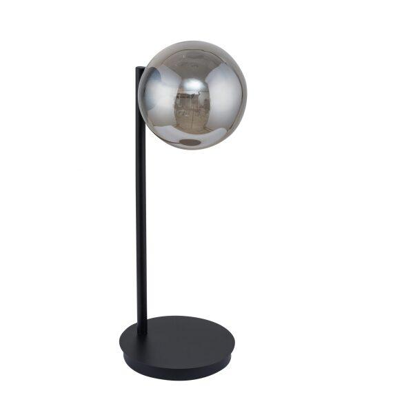Nocna lampa stołowa Roma szklany dymiony klosz szary