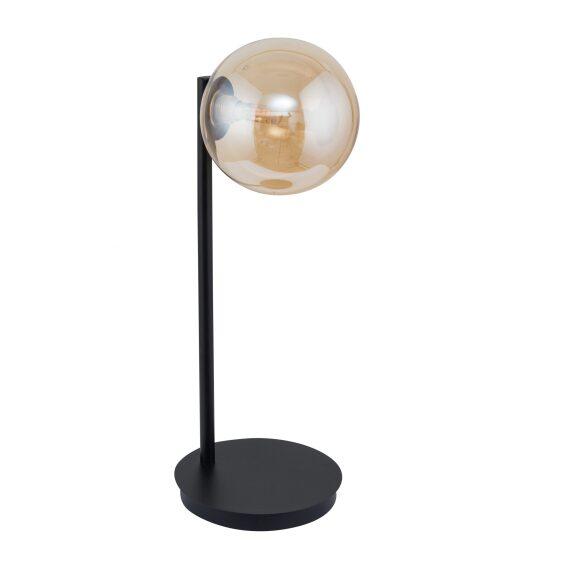 Nowoczesna lampa stołowa nocna Roma kolor bursztynowy szklany klosz